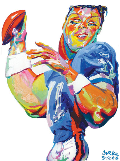 ORIGINAL ARTWORK BY PHILIP BURKE SKU#010586 - Drew Bledsoe