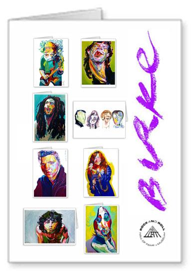Music Legends Original Artwork Notecard Collection By Philip Burke SKU#ML8-NCC